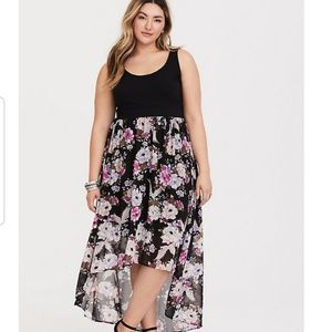 Torrid Black floral knit to woven high low Dress